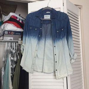 Dip dye denim shirt